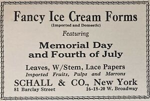 1929 AD(M3)~SCHALL & CO. NYC. FANCY ICE CREAM FORMS