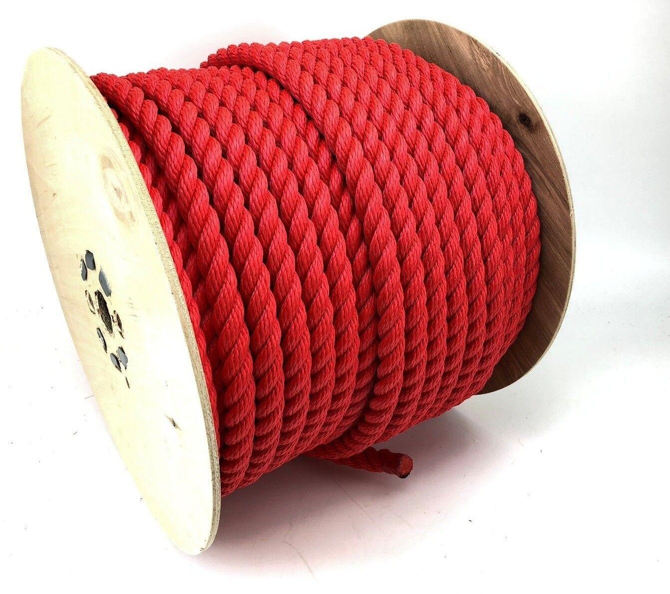 18mm Red 3 Strand Multifilament Softline Rope x 30 Metre Reel (Floating Rope)