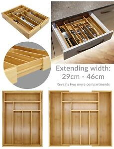Bamboo-Extending-Cutlery-Tray-Drawer-Organiser-Expandable-amp-Adjustable-Z13