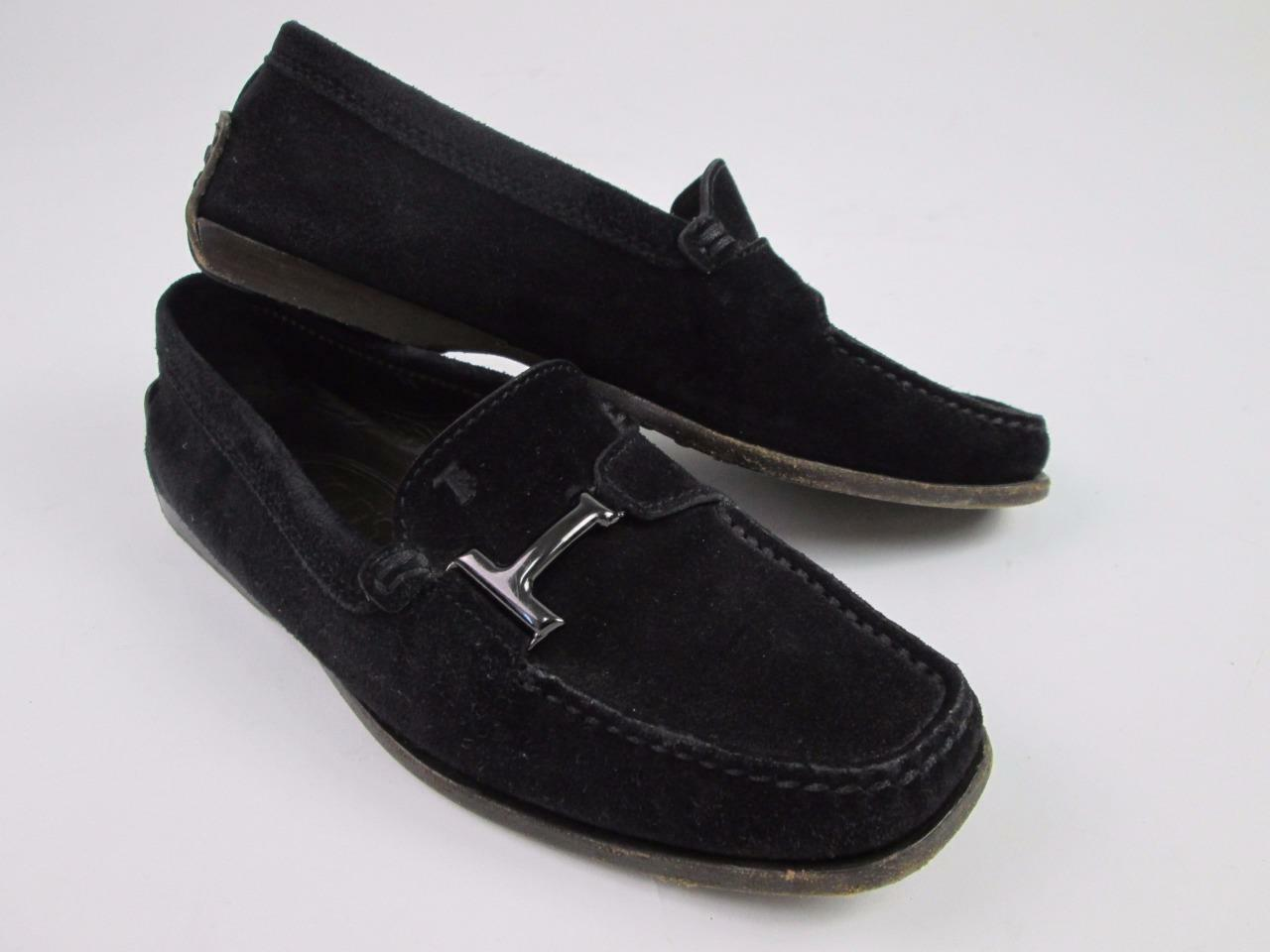 TOD'S  TODS WOMEN BLACK BUCKLE SLIP-ON EUC SUEDE DRIVERS LOAFERS SZ:34/4 EUC SLIP-ON ac2777