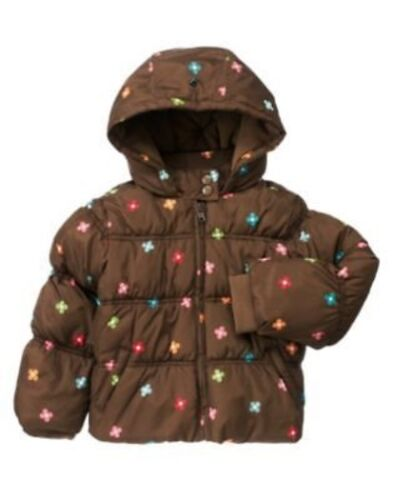 GYMBOREE WINTER CHEER BROWN FLOWER  HOODED PUFFER JACKET 3 4 5 6 7 8 10 12 NWT