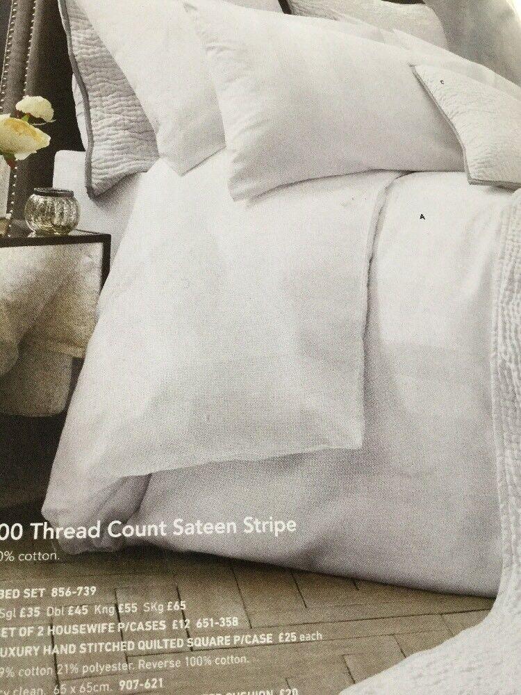 Next 300TC 100% Cotton Sateen Stripe Double duvet cover +2 Pillowcases -Bed set