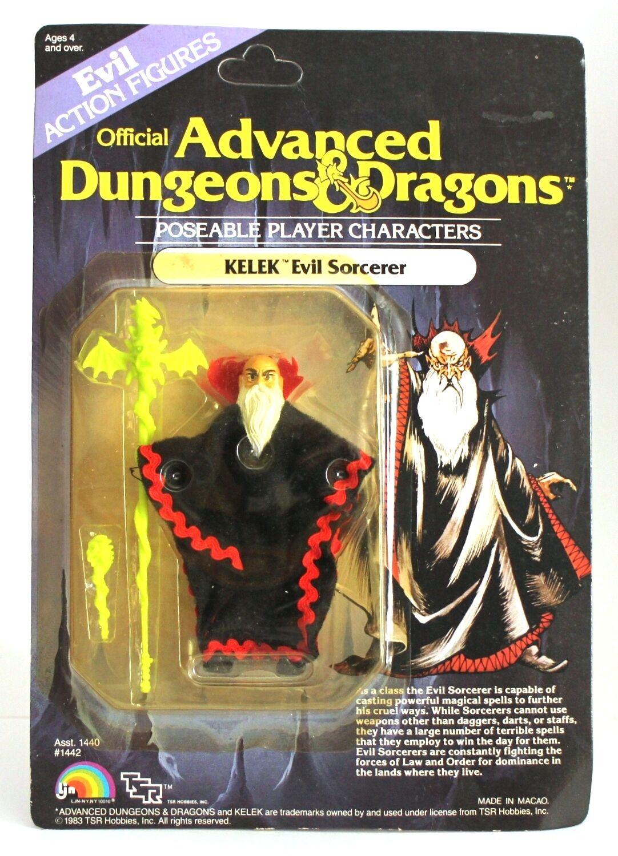 1983 ljn advanced dungeons & dragons 3,75  kelek actionfigur auf verschlossene karte