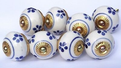 x 6 chrome Cream round with Slate Blue flowers/&Teal leaves ceramic pulls knobs