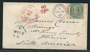 1860-Great-Britain-Sc-28-SG-72-on-Chicago-Packet-Cover-Canterbury-to-IL