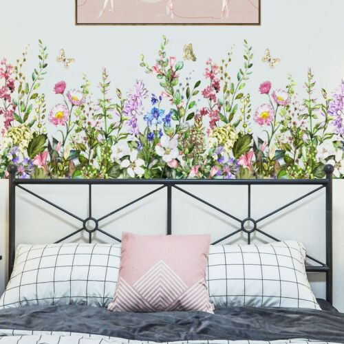 PVC Vinyl Wall Decals Plant Flower Butterfly Wall Stickers Arts Mural Home Decor