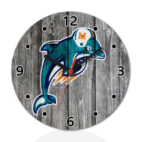 Miami Dolphins Sport Wooden Wall Clock Modern Home Room Decoration