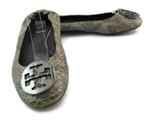 434cadfae3c9 Tory Burch Reva Women s Snake Skin Leather Ballet Flat Shoes Size US ...