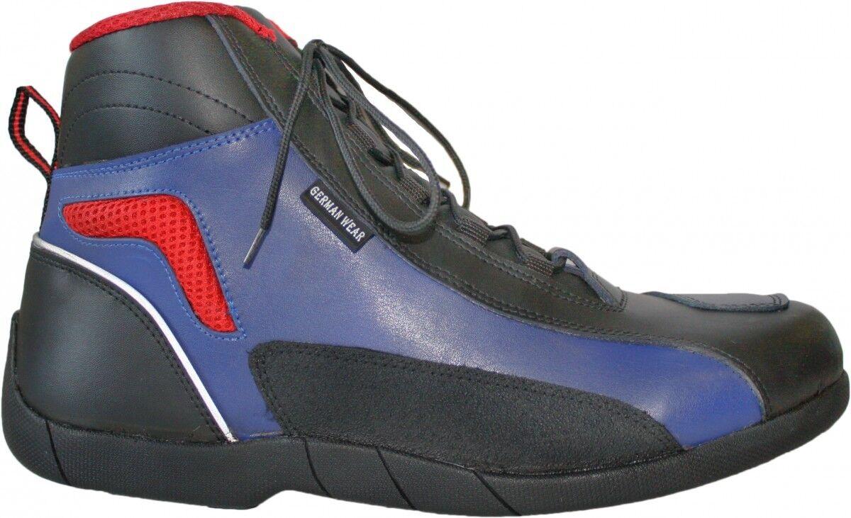 Biker Motorradstiefel Motorrad Touring Stiefel stiefletten schwarz,blau rot 17cm