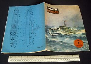 Vintage-Maly-Modelarz-Poland-1980-1-Card-Cut-Out-Model-Book-Polish-Warship