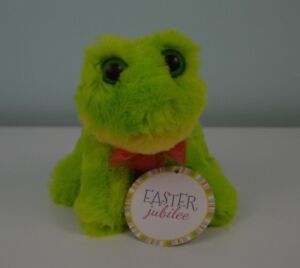 Dan-Dee-Frog-Plush-Stuffed-Animal-Toy-Green-Yellow-Pink-Bow-Big-Eyes-6-034-Easter