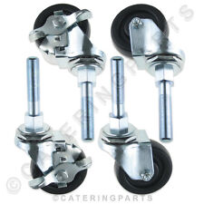 SET OF HEAVY DUTY SWIVEL CASTORS WHEELS FOR HENNY PENNY PRESSURE CHICKEN FRYER