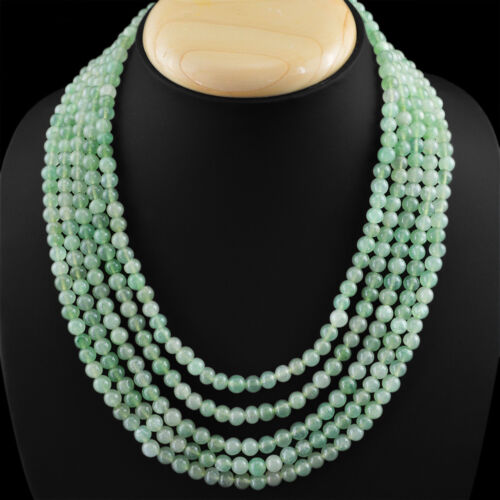 AMAZING 5 LINE 588.00 CTS NATURAL RICH GREEN AQUAMARINE ROUND BEADS NECKLACE