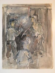 Emil-Hess-Signed-Gold-Miners-Original-Watercolor-8-x-10