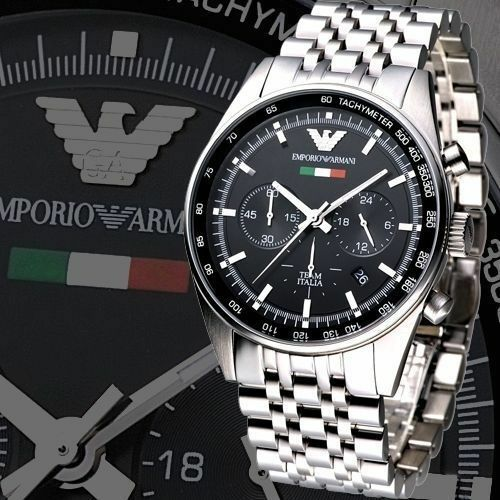 NEW GENUINE EMPORIO ARMANI  MENS AR5983 TAZIO 43MM SILVER STAINLESS STEEL WATCH