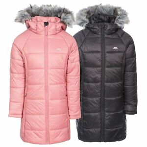 Trespass-Elimore-Girls-Padded-Jacket-Quilted-Coat-With-Hood-In-Pink-amp-Black