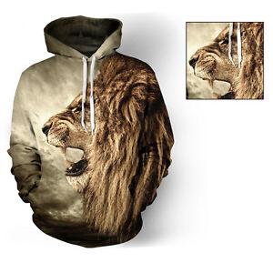 2982e72c637c Homme Femme 3D Imprimé Lion Graphique Sweat Capuche Veste Sweatshirt ...