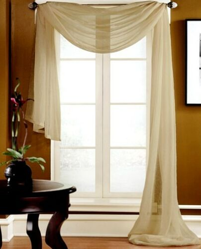 """1 PC SCARF VALANCE TOPPER CASCADING VOILE SHEER FABRIC 35/""""-37/"""" WIDE X 216/"""" LONG"""
