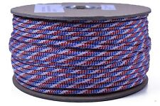 Red White Blue Stripes - 250 Feet Spool Bored Paracord 550 Type III Paracord