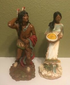 Vintage-14-034-Statues-Of-American-Indian-Brave-And-Maiden-With-Baby-Ceramic