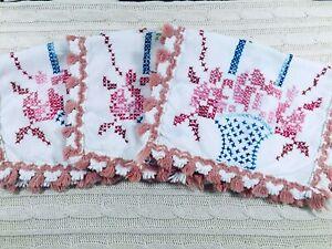 3-Vintage-Napkins-Placemats-Handmade-Cross-Stitched-Baskets-w-Fringe-Tassels