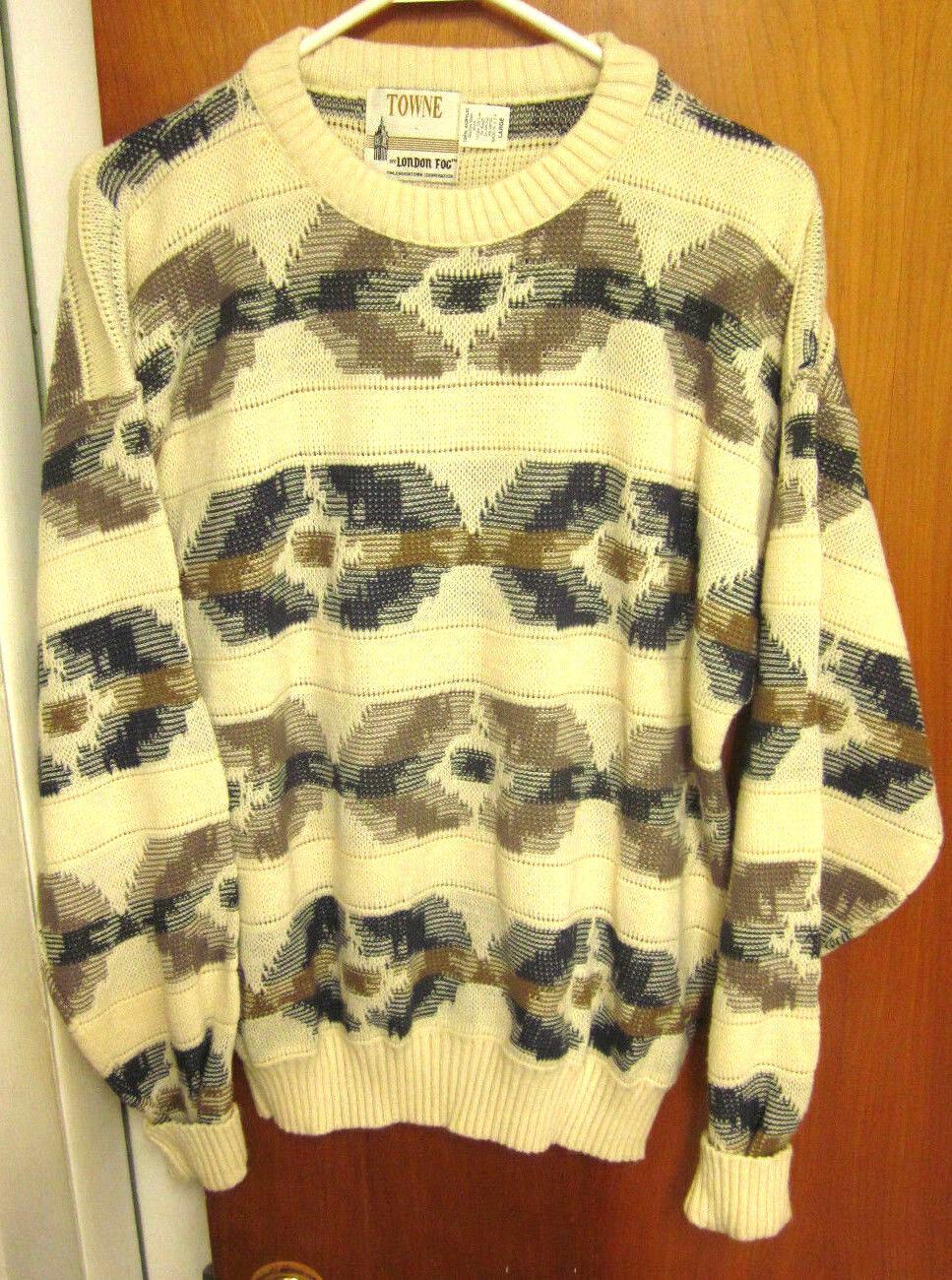 LONDON FOG ectoplasm cream lrg knit sweater Towne microwave ghost-hunter 1980s