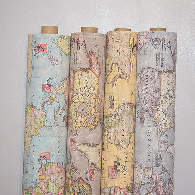"Vintage World Map Cotton Linen Fabric Curtain & Upholstery, 4 Colours 54"" Wide"