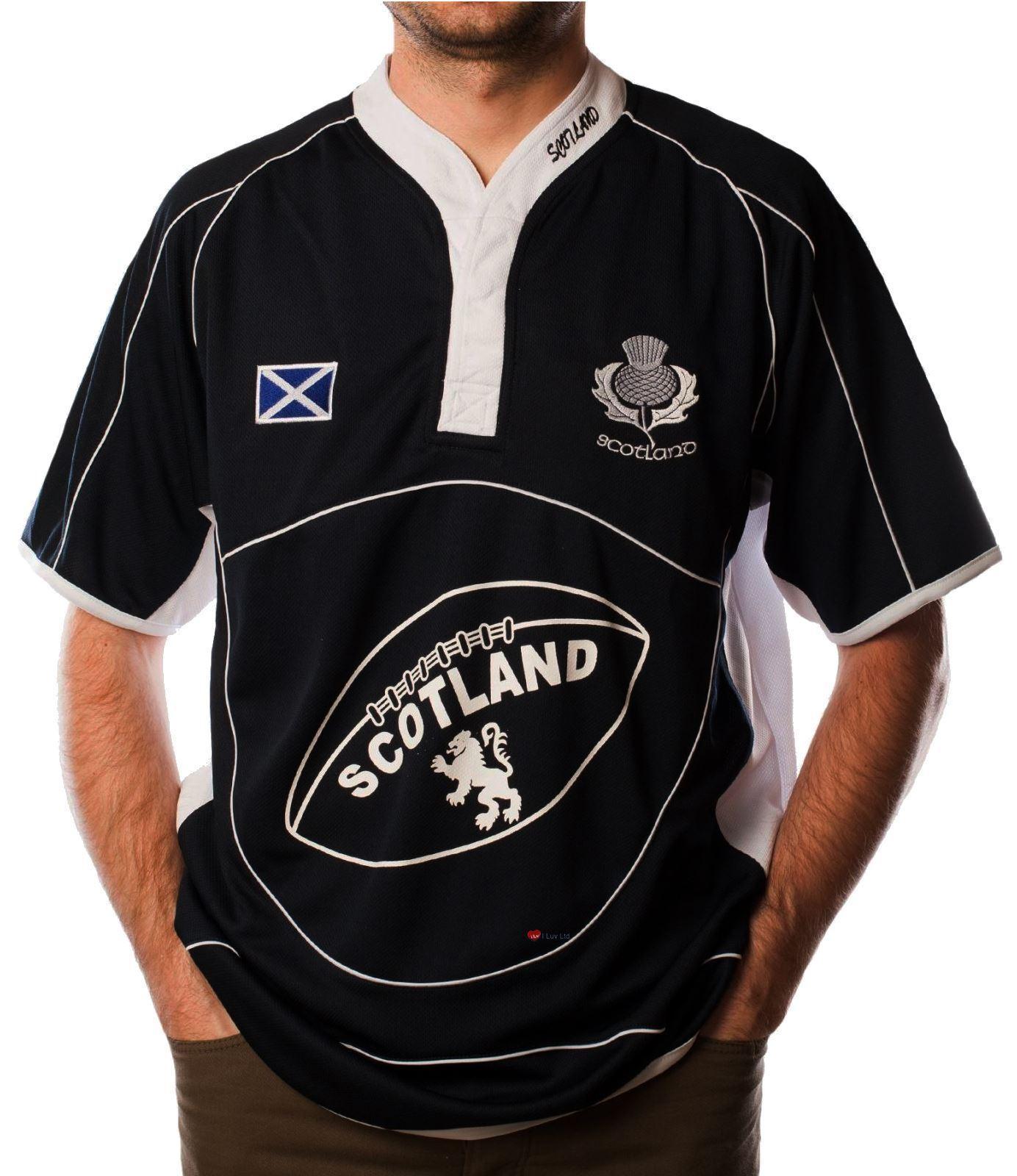 Scotland Rugby Shirt  Short  Sleeve Navy White Cool Collar Saltire  Medium