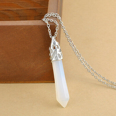Natural Quartz Crystal Healing Point Chakra Hexagonal Gemstone Pendant Necklace
