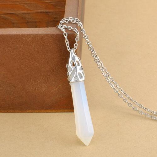 Gemstone Rock Natural Crystal Quartz Healing Point Chakra Stone Pendant Necklace