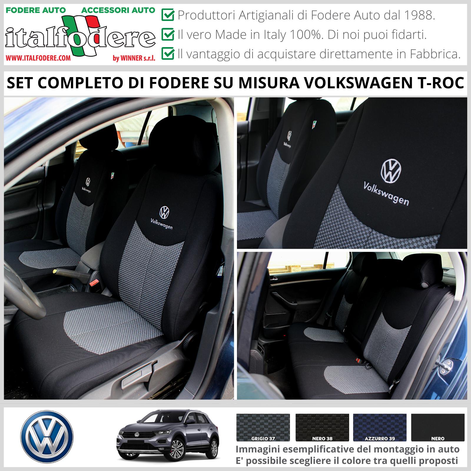 colore nero//bianco in ecopelle per Volkswagen T-ROC dal 2017 Set completo di coprisedili per auto