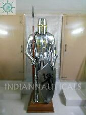 Medieval Knight Suit of Armor 15th Century Combat Full Body Armour shield stand