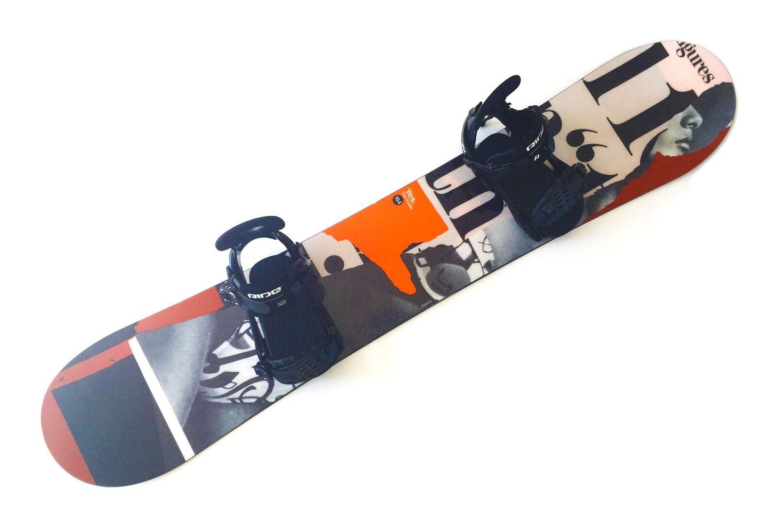 YES The Public Snowboard 154 cm - Ride LX Bindings Size L Men's Boy's (164A)