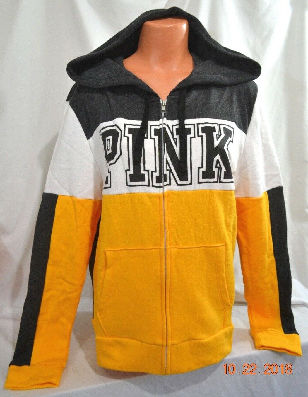 4151c949e7d8 Victorias Secret GRAPHIC Perfect Full Zip Hoodie gold GLOW NWT SOLD OUT L  Pink nptzjm3088-Hoodies & Sweatshirts