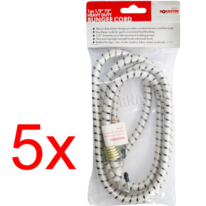 5 X HEAVY DUTY BUNGEE CORD ELASTIC BUNGEES ROPE HOOK STRONG STRONG HOOK LONG 72