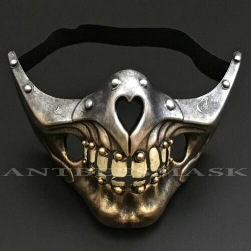 Halloween Steampunk Half Face Skull sharp jawline Burning Man Party Mask