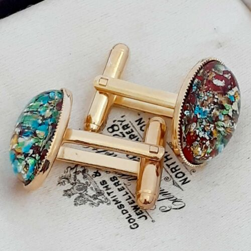 Oval Gold Plated Cufflinks Vintage 1950s Red Flash Fire Glass Opal