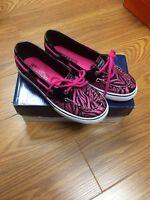 Girls Sperry Top Sider biscayne 1 Eye Pink/black sparkle Boat Shoes