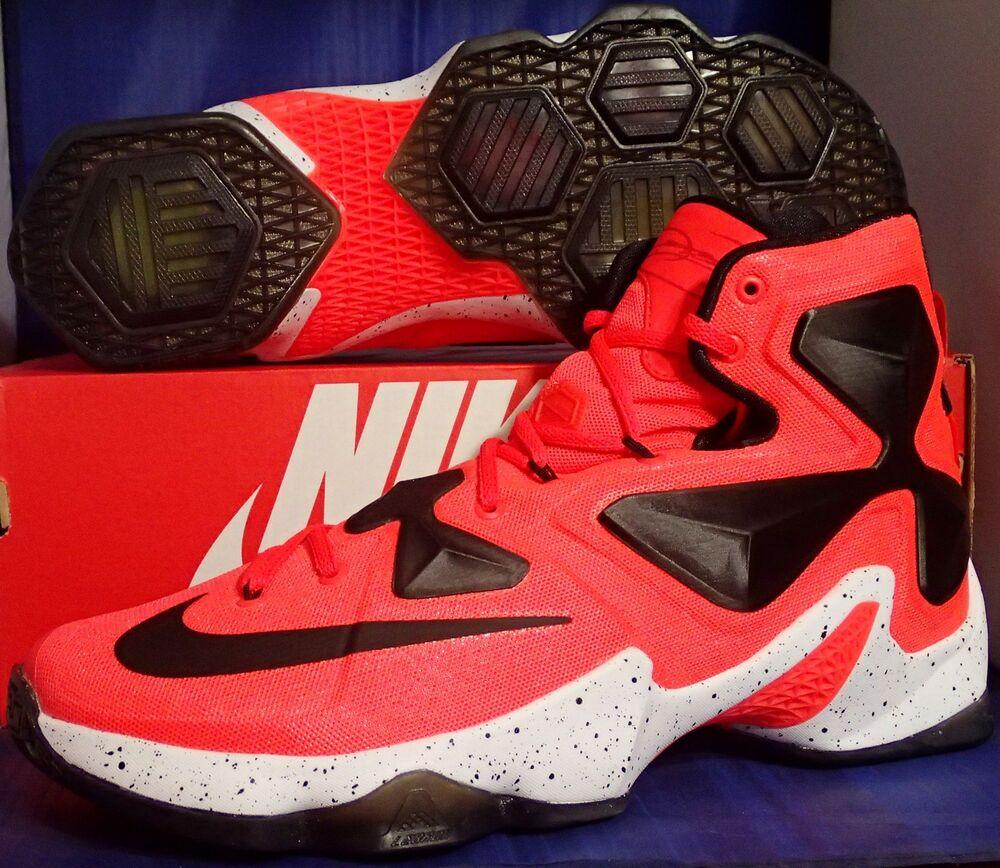 Nike Lebron XIII 13 iD Bright Crimson BLANC Noir Homme  Chaussures de sport pour hommes et femmes
