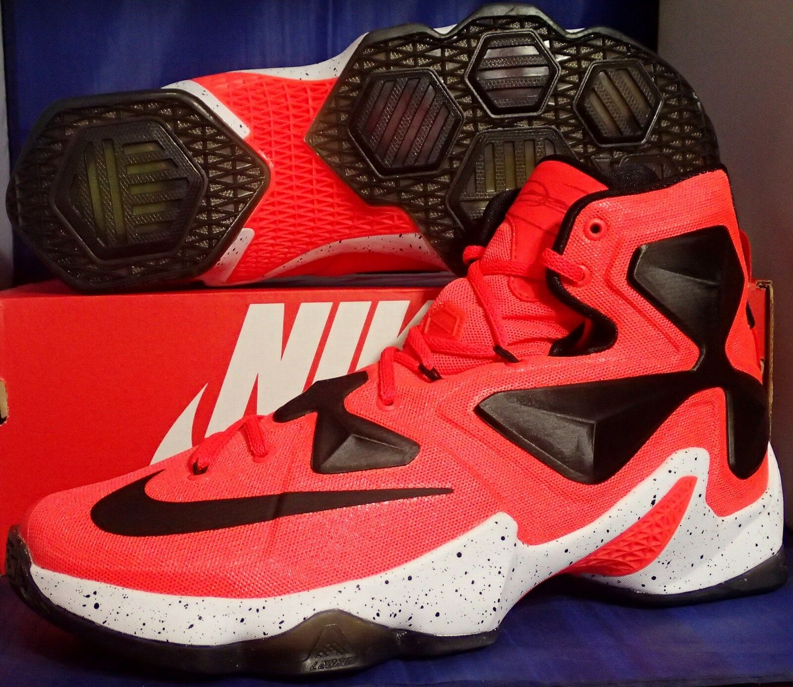 Nike Lebron XIII 13 iD Bright Crimson White Black SZ 10.5 ( 836141-992 )
