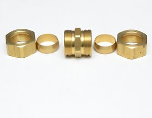 7/8 OD Compression Copper Tube Union Straight Joiner Fitting Air Gas Water