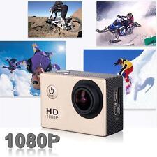 Mini Helmet Full HD 1080P 12MP Cam 30M caméra étanche Action Sports DV DVR Or DC