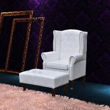 Leather Wingback Chair Ottoman Set Chesterfield Armchair Stool Seat French  White