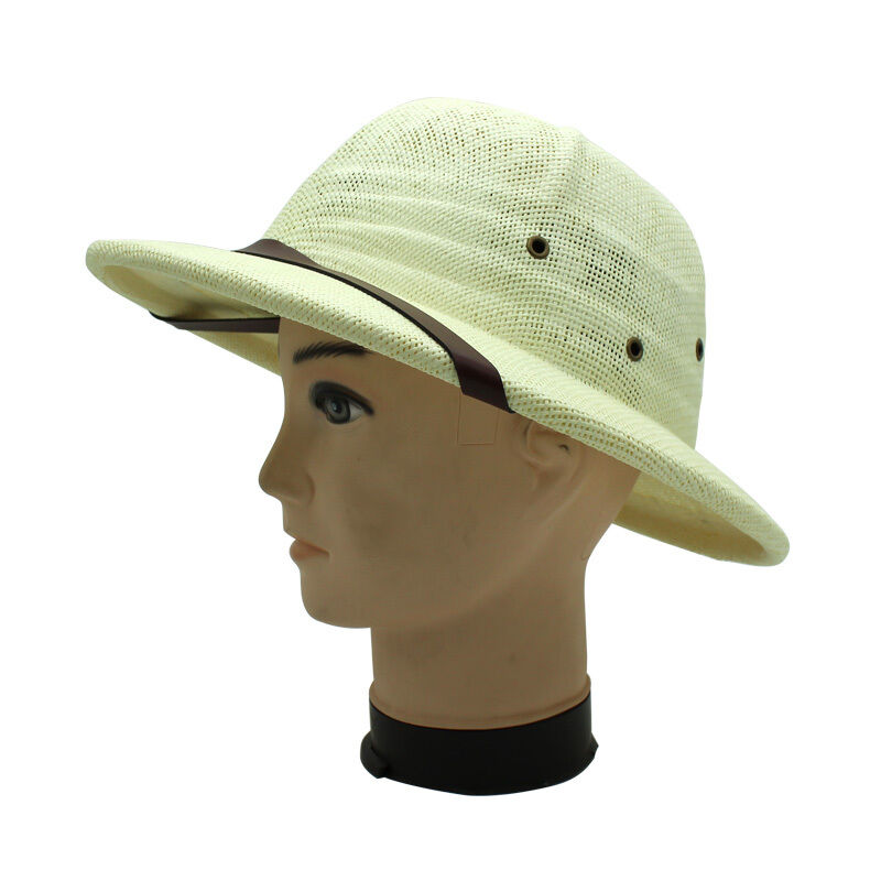 Straw Safari Pith Hat Jungle Hunter Film Explorer Helmet Fancy Dress Film Hunter Play Props a3a6b2