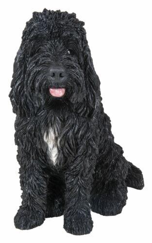 Cockapoo chien assis-noir réaliste décoration de jardin intérieur//extérieur Real Life