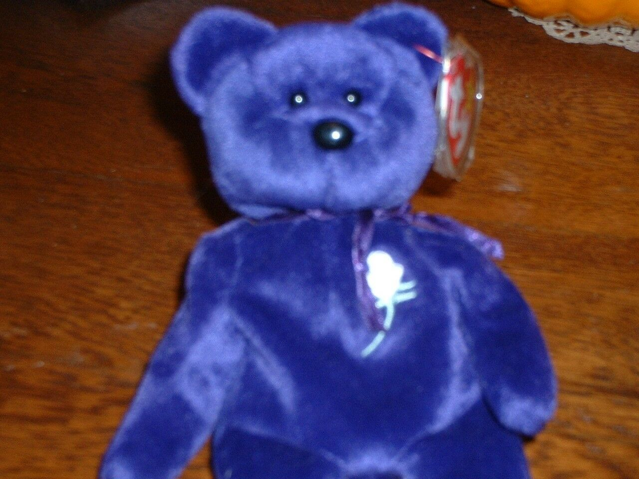 PRINCESS Diana Bear 1997 Ty Beanie Baby PVC Pellets Retired, ty tag in plastic