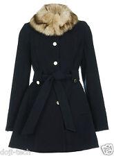 Miss Selfridge Navy Fur Collar Belt Vtg Skirted Mac Coat Jacket 8 6 36 US4 S/P