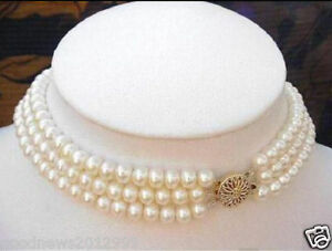 f07b2868f7ad7 Details about Real Charming Natural South Sea Triple Strands 8-9MM White  Pearl Choker Necklace