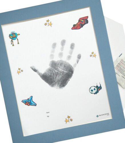 "9 designs /& 8 couleurs 10x12 /""Mount X1 baby INKLESS empreinte main Kit d/'impression"