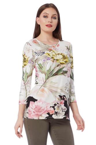 Roman Originals Women/'s Multi Floral Print 3//4 Sleeve Top Sizes 10-20